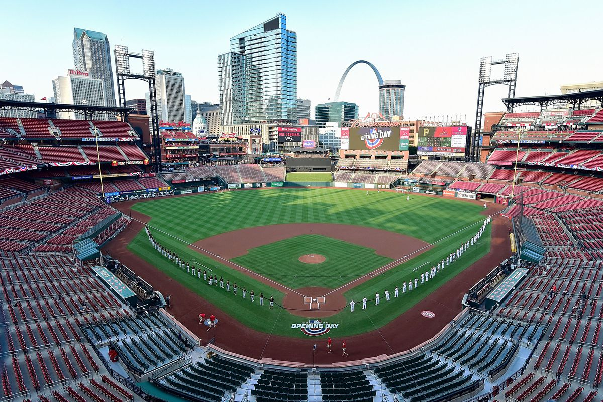 A general view of Busch Stadium during the National Anthem prior to the start of Opening Day between the St. Louis Cardinals and the Pittsburgh Pirates.