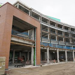 The south face of the new plaza building