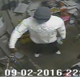 Surveillance photo of the suspect who robbed a Gurnee gas station at gunpoint Friday night.   Gurnee police