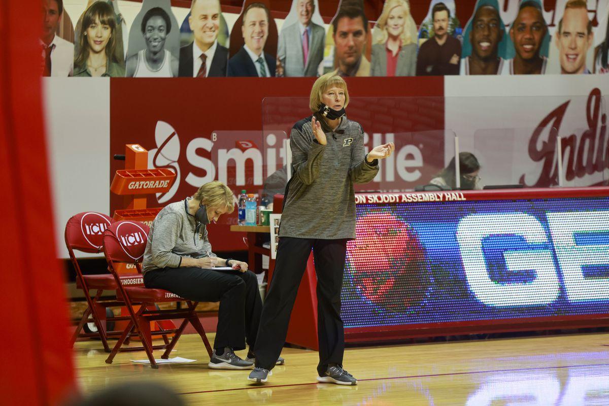 Purdue womens basketball coach, Sharon Versyp coaches...