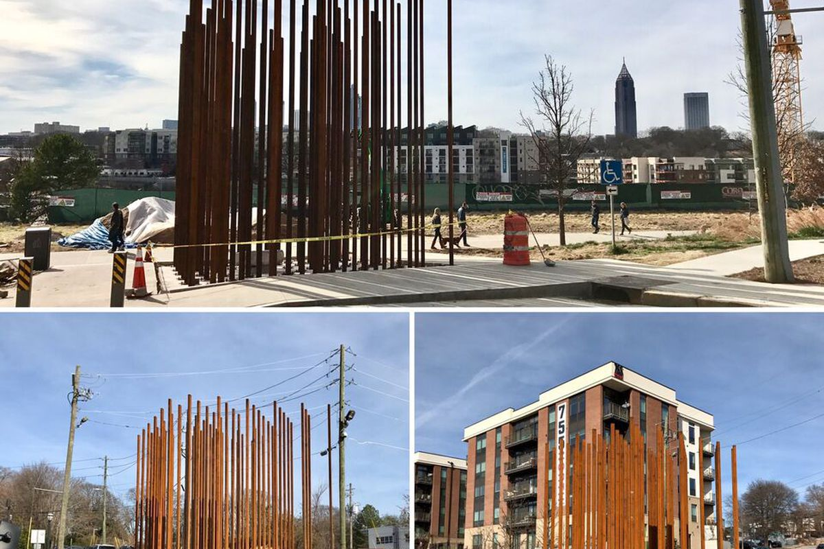 A new permanent sculpture rising as part of Art on the Beltline in Atlanta.