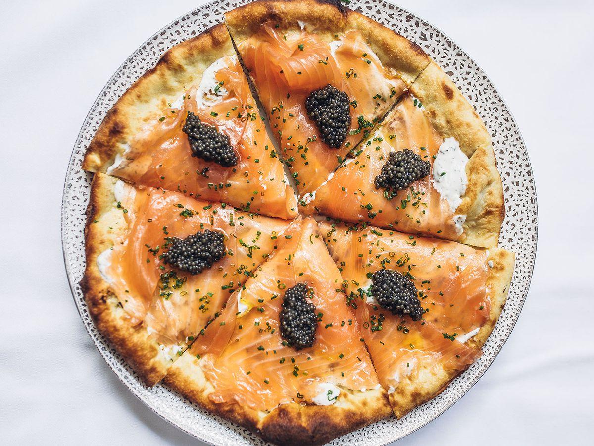 Smoked salmon pizza at Spago