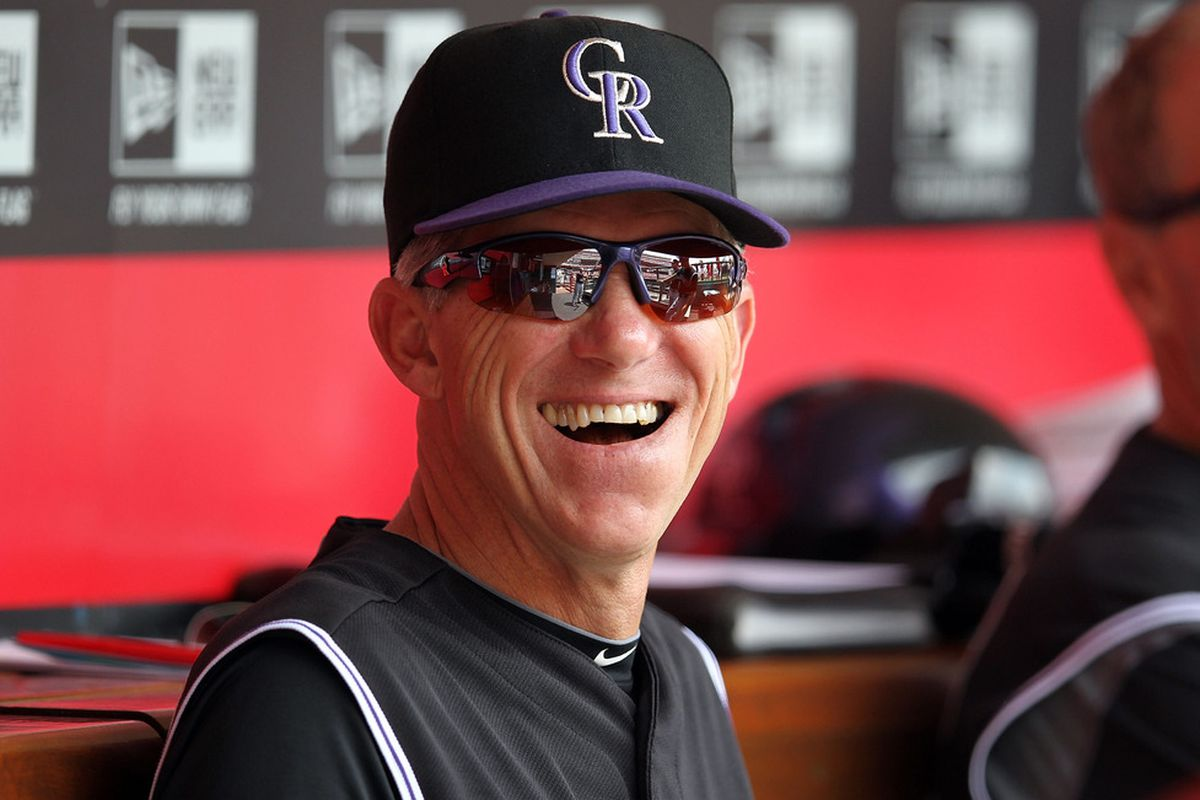 CINCINNATI, OH - MAY 27:  Jim Tracy the manager of the Colorado Rockies watches the action during the game against the Cincinnati Reds at Great American Ball Park on May 27, 2012 in Cincinnati, Ohio.  (Photo by Andy Lyons/Getty Images)
