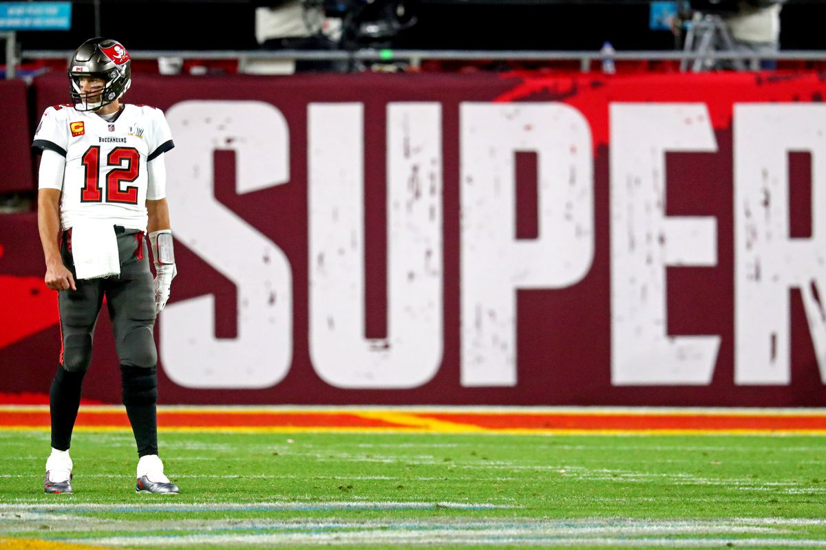Tampa Bay Buccaneers quarterback Tom Brady looks on during the fourth quarter against the Kansas City Chiefs in Super Bowl LV at Raymond James Stadium.