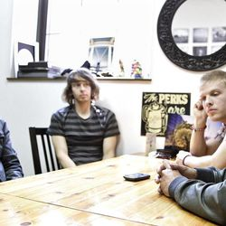 ADVANCE FOR WEEKEND EDITIONS APRIL 14-15 - In this April 6, 2012 photo, actor Frankie Muniz, left, sits with Tristan Martin, Jordan Davis and Tim Warren members of  the pop rock band Kingsfoil in York, Pa.