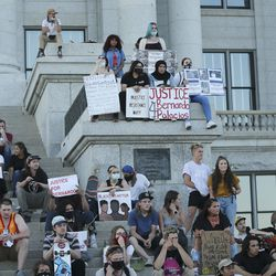Skateboarders protest at the Utah State Capitol during an event called Skate for Solidarity in Salt Lake City on Thursday, June 11, 2020. The protesters joined others across the nation to decry racism and police brutality after the death of George Floyd, a black man who died while being taken into custody by police in Minneapolis.