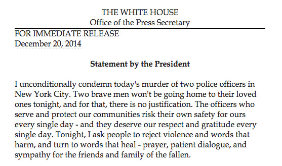 President Obama NYPD statement