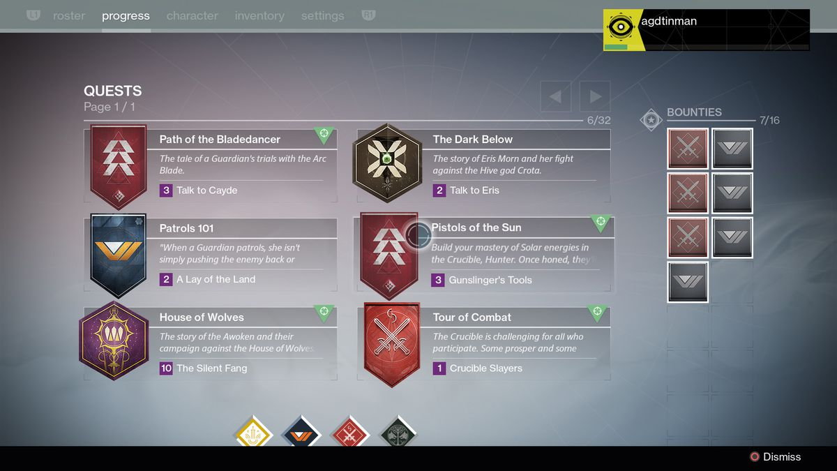 Destiny: The Taken King - Progress tab screenshot 1920