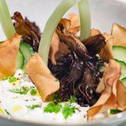 Shallot and herb labneh, crispy mushrooms, sunchoke chips
