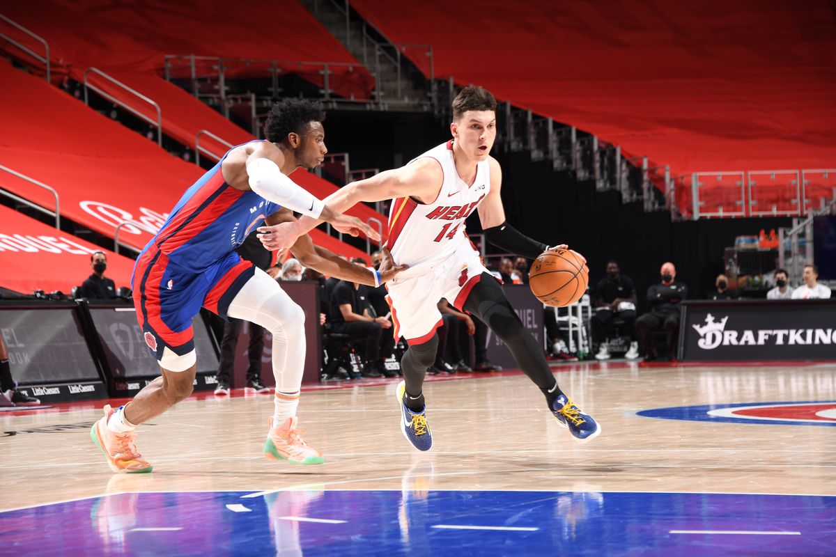 Tyler Herro #14 of the Miami Heat handles the ball during the game against the Detroit Pistons on May 16, 2021 at Little Caesars Arena in Detroit, Michigan.