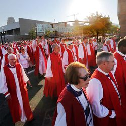 Bishops United Against Gun Violence host a rally Sunday, June 28, 2015, from the Salt Palace to Pioneer Park and back in Salt Lake City during the Episcopal Church's 78th General Convention.