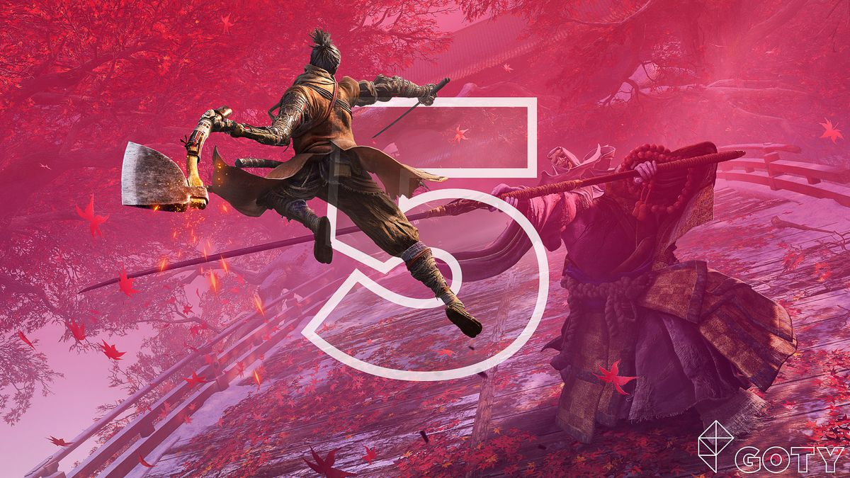 The character Wolf leaping in the air and about bring down his axe on a masked assailant in s still from Sekiro: Shadows Die Twice game