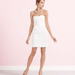"""<a href=""""http://www.katespade.com/designer-clothing/designer-dresses-and-skirts/teasdale-bridal-dress/1NMU0028,default,pd.html?dwvar_1NMU0028_color=100&start=1&cgid=wedding-belles-dresses""""> Teasdale dress</a>, $358 at katespade.com"""