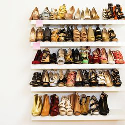 Stylists come to the studio and pull shoes for their celebrity clients.