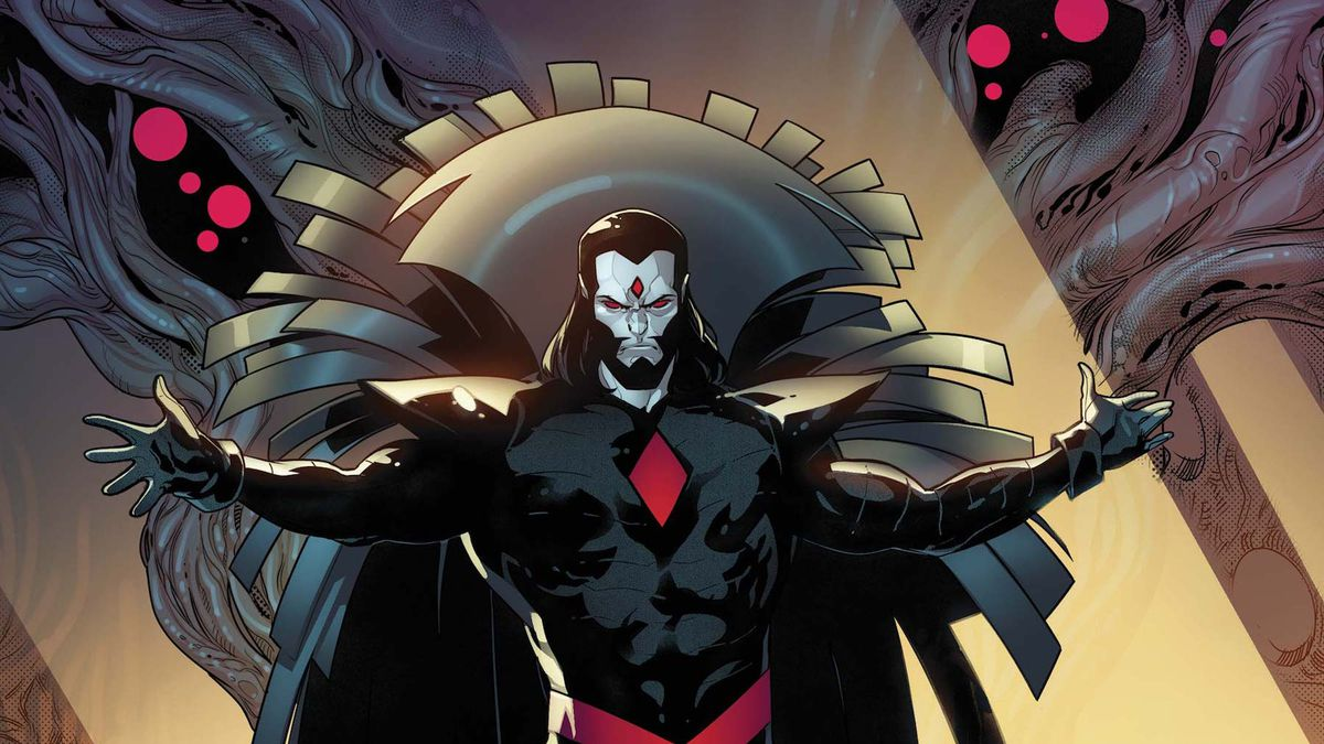 Mister Sinister, in all his caped glory, stands over the resurrection eggs of Krakoa with arms spread, on the cover of Powers of X #5, Marvel Comics (2019).