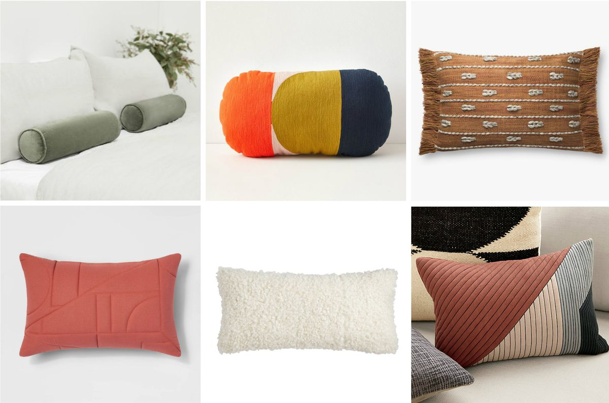 A collage of six wide pillows with designs in green, pink, white, copper, and color-blocked hues.