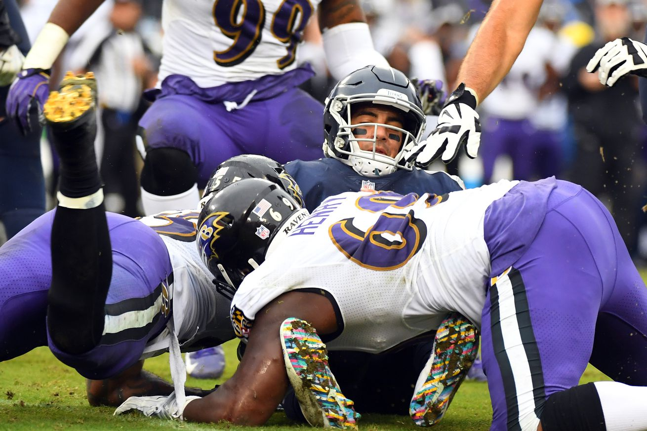 Mariota was sacked 11 times by the Ravens. He completed 10 passes