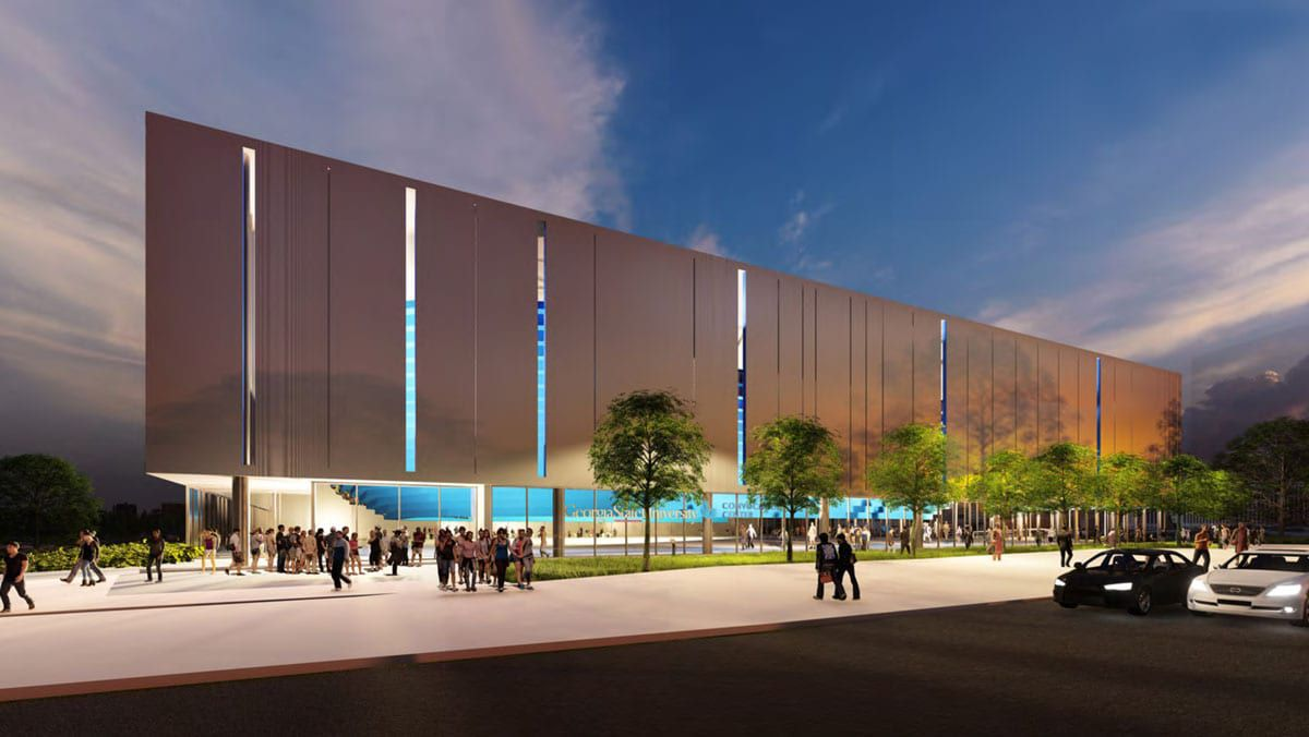 In this rendering, stadium seating is visible through the ground-level windows at the new convocation center.