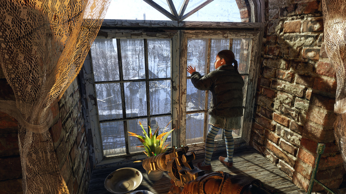 A child stands by a window inside an abandoned church in Metro Exodus.