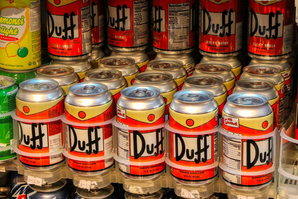 real cans of replica duff beer from the simpsons tv show