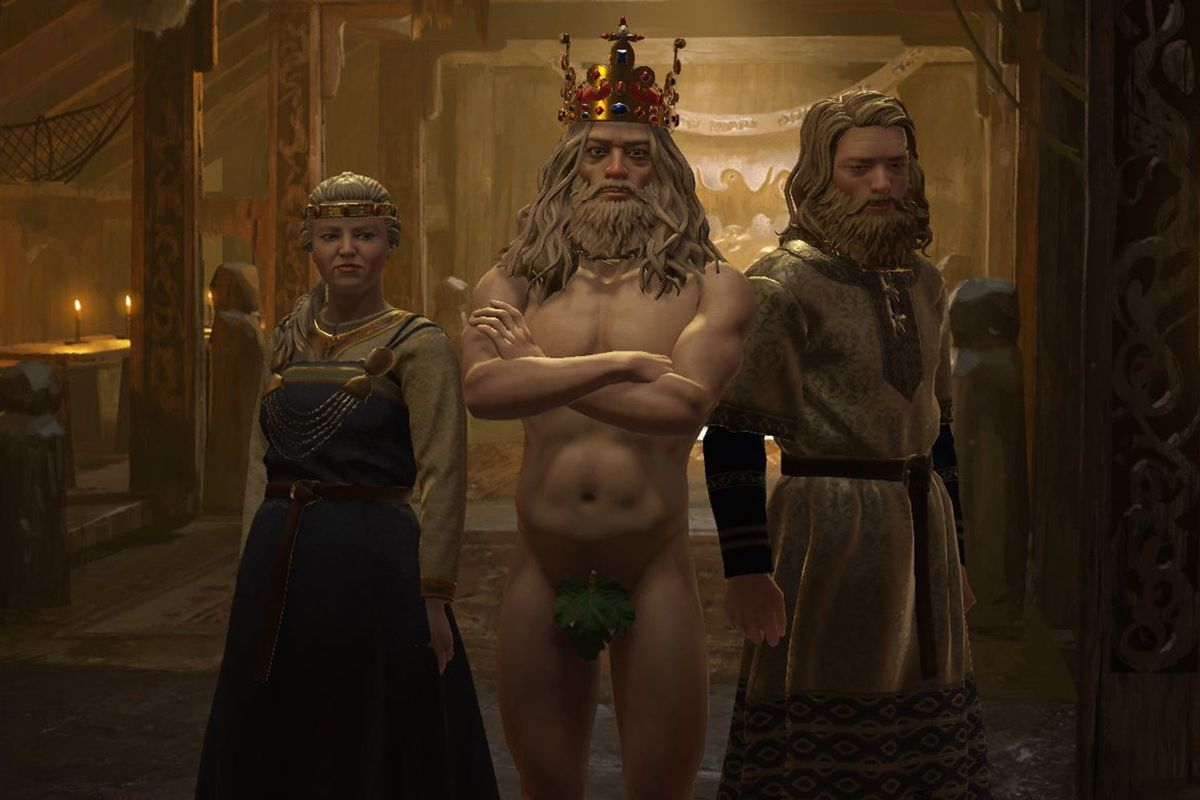 A lord stands in his feudal hall... naked.