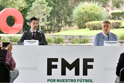 Mexican Football Federation President Yon de Luisa (left) and Mexican men's national team manager Gerardo Martino