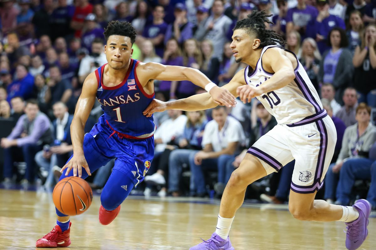 Kansas Jayhawks guard Devon Dotson (1) drives to the basket in the second half of a Big 12 basketball game between the Kansas Jayhawks and Kansas State Wildcats on February 29, 2020 at Bramlage Coliseum in Manhattan, KS.