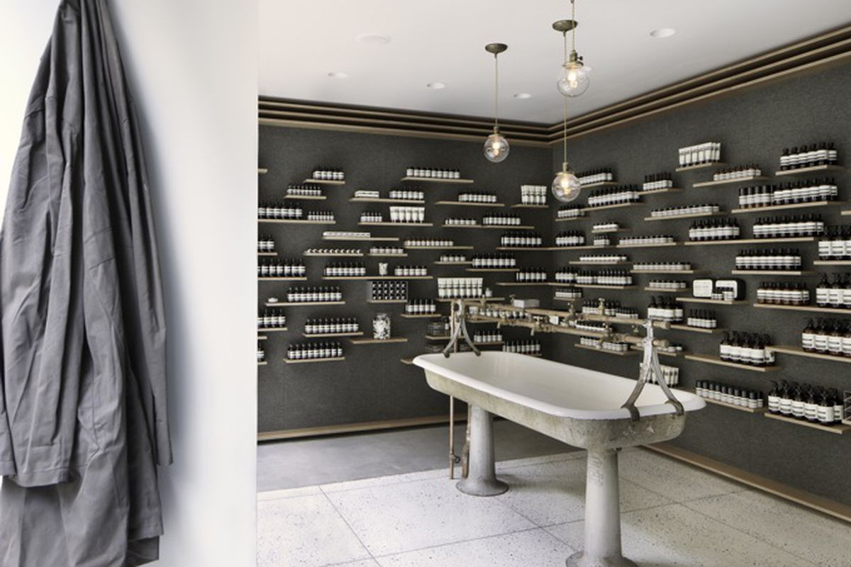 """The <a href=""""http://ny.racked.com/archives/2011/12/21/aesop_continue_city_skincare_domination_with_university_store.php"""">University Place</a> store; Photo by Juliana Sohn for Aesop"""