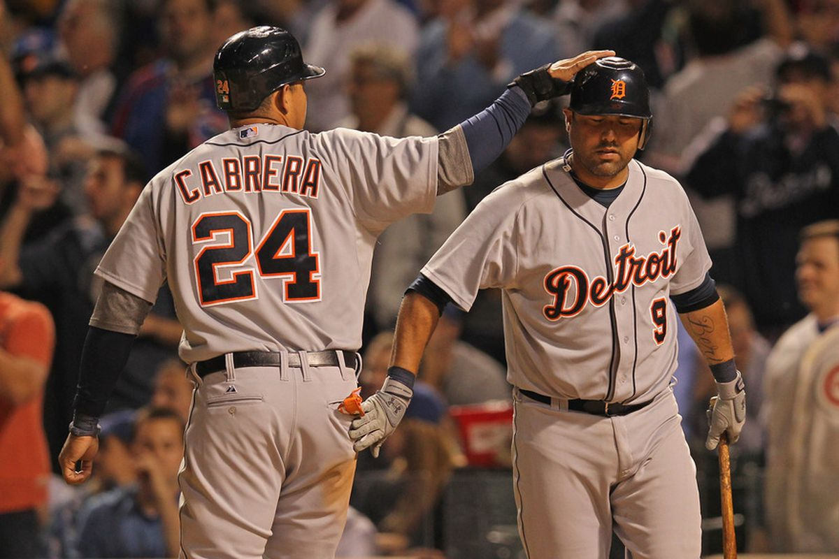 Gerald Laird and Miguel Cabrera exchange a tender moment.