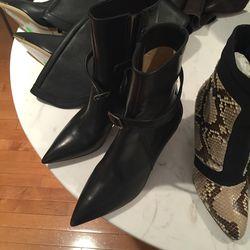 Black stiletto boots, $225