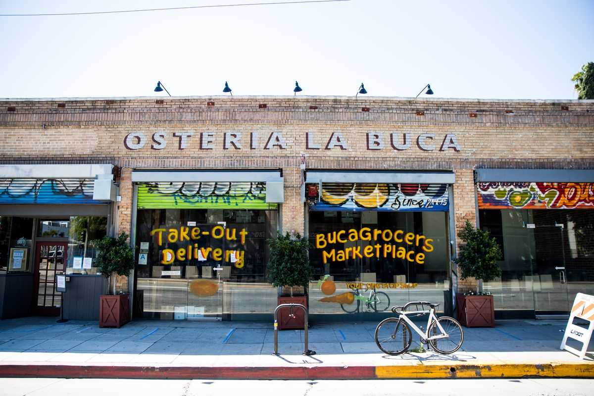 The storefront of Osteria La Buca restaurant is seen on April 15, 2020 in Los Angeles, California.