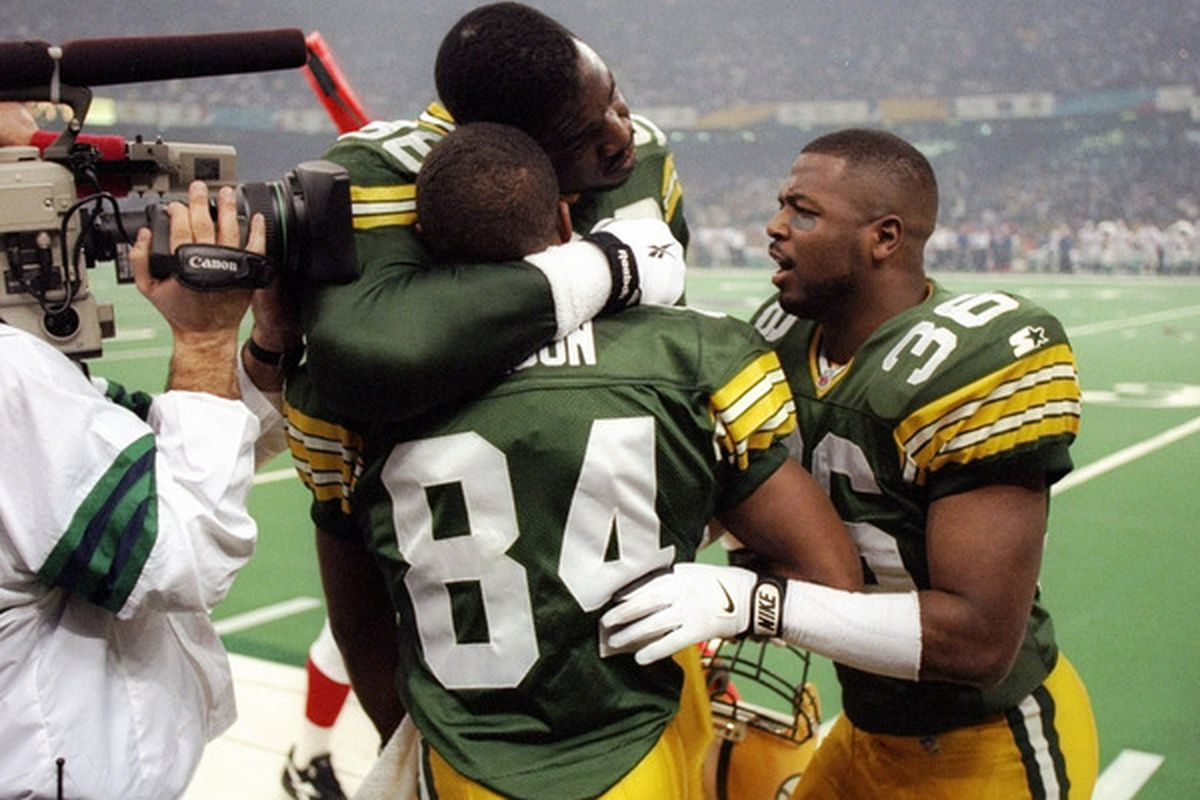 Leroy Butler, right, during the Super Bowl in 1997.