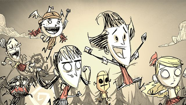 A group of characters from Don't Starve Together, rendered in pencil and charcoal, running and leaping in celebration.