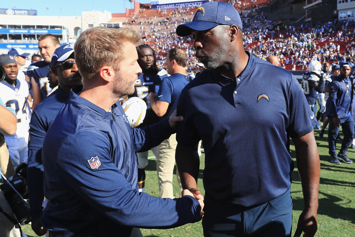Head coach Sean McVay of the Los Angeles Rams is congratulated by head coach Anthony Lynn of the Los Angeles Chargers after the Rams defeated the Chargers 35-23 at Los Angeles Memorial Coliseum on September 23, 2018 in Los Angeles, California.