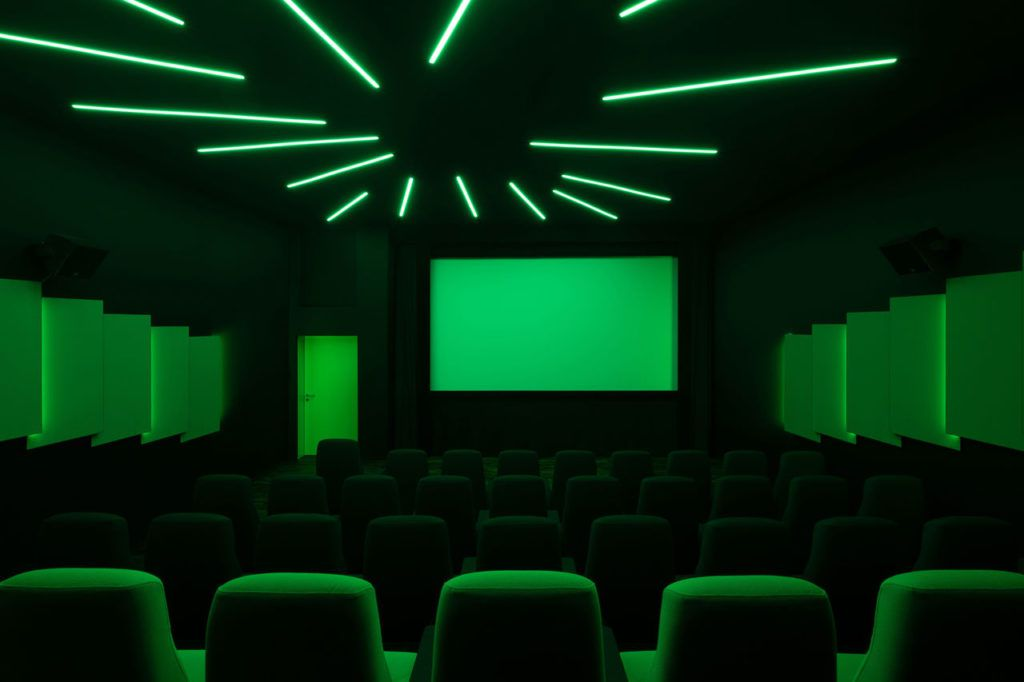 Theater with green fluorescent lights