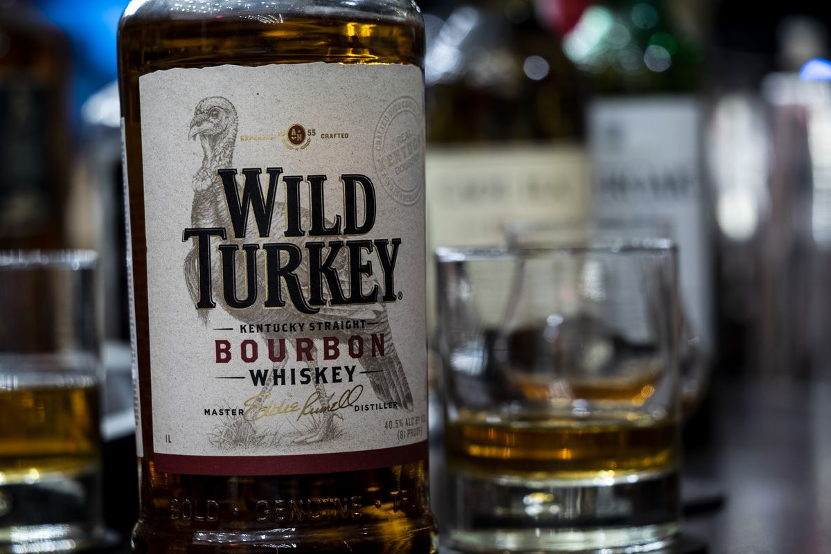 Wild Turkey Bourbon whisky seen at the Rooster Grill Bar...