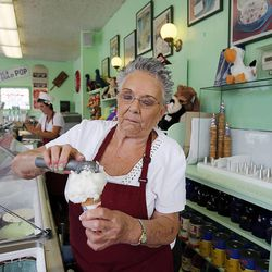 Assistant Store Manager Mary Riter of Farr's Ice Cream in Ogden is gearing up Tuesday, July 29, 2014 for additional business when the Ogden Utah Temple opens.