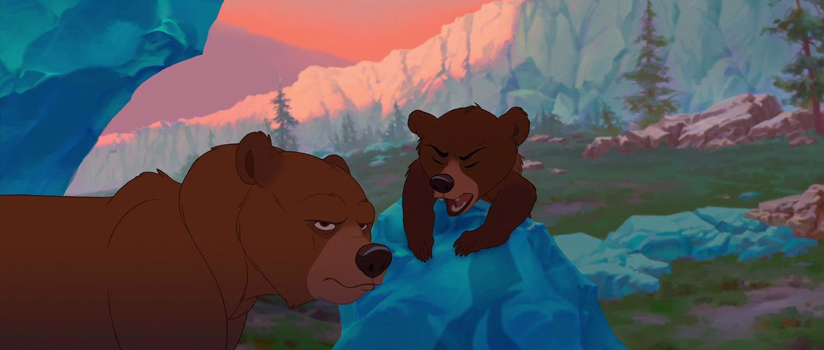 Kenai the grizzly looks deeply annoyed