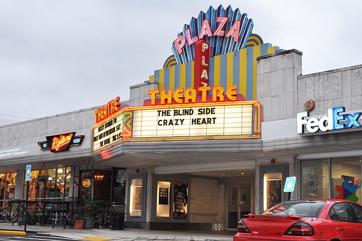 The neon-lit sign and marquee.