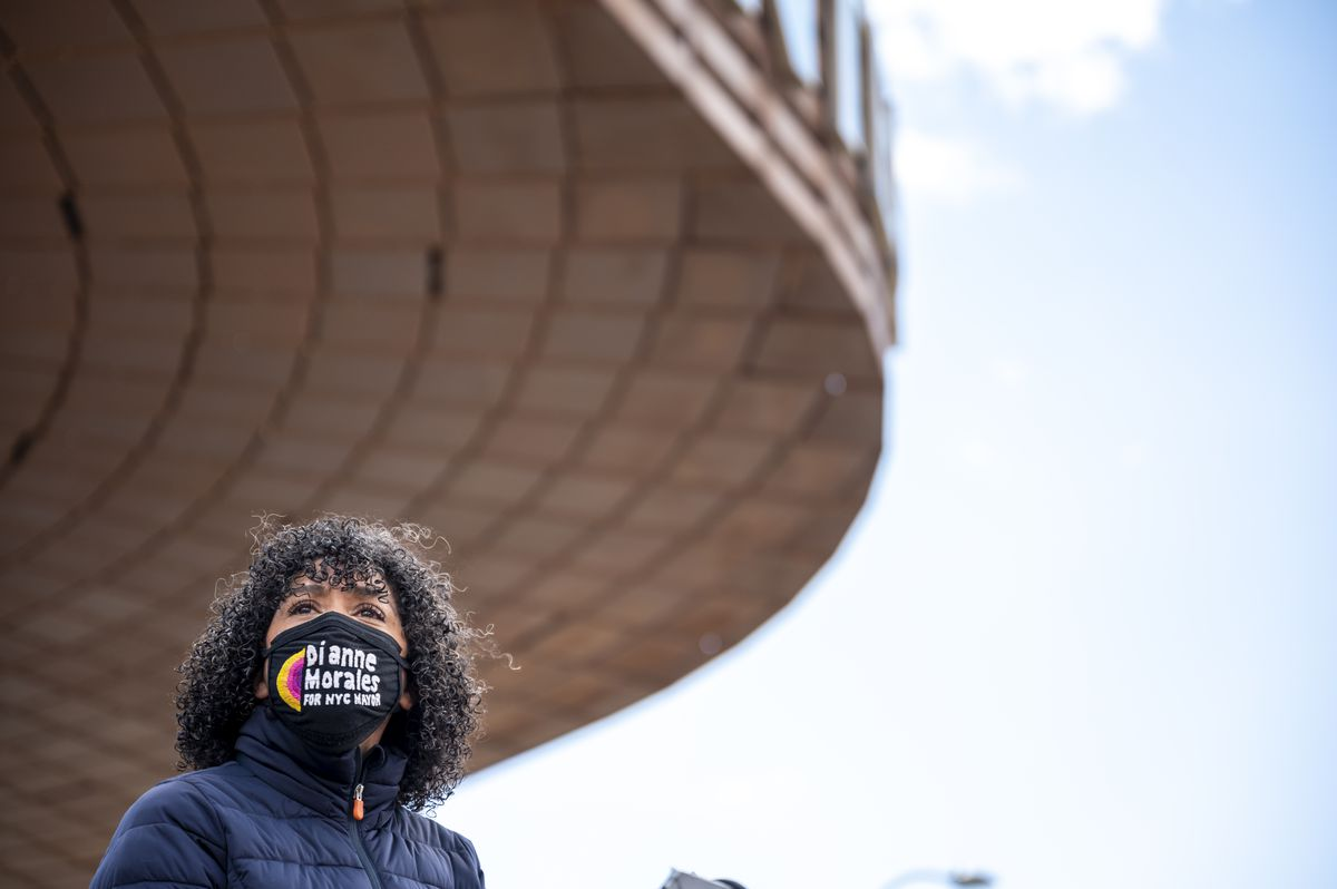 Mayoral candidate Dianne Morales at a press conference outside of Barclays Center in Downtown, Brooklyn on Apr. 23, 2021.