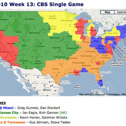 Map of which areas are broadcasting the Denver Broncos game against Kansas City Chiefs Map on map history, map sam houston state university, map nfl, map university of phoenix stadium,