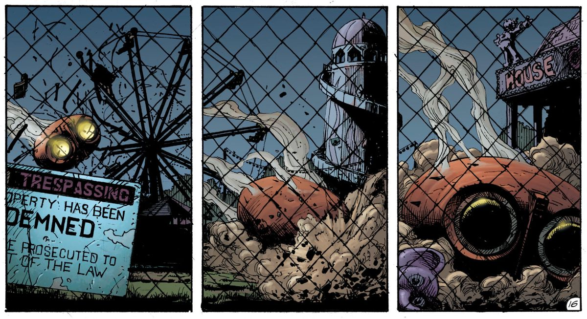 The owlship crashes in Gotham City in Doomsday Clock #2, DC Comics 2017.