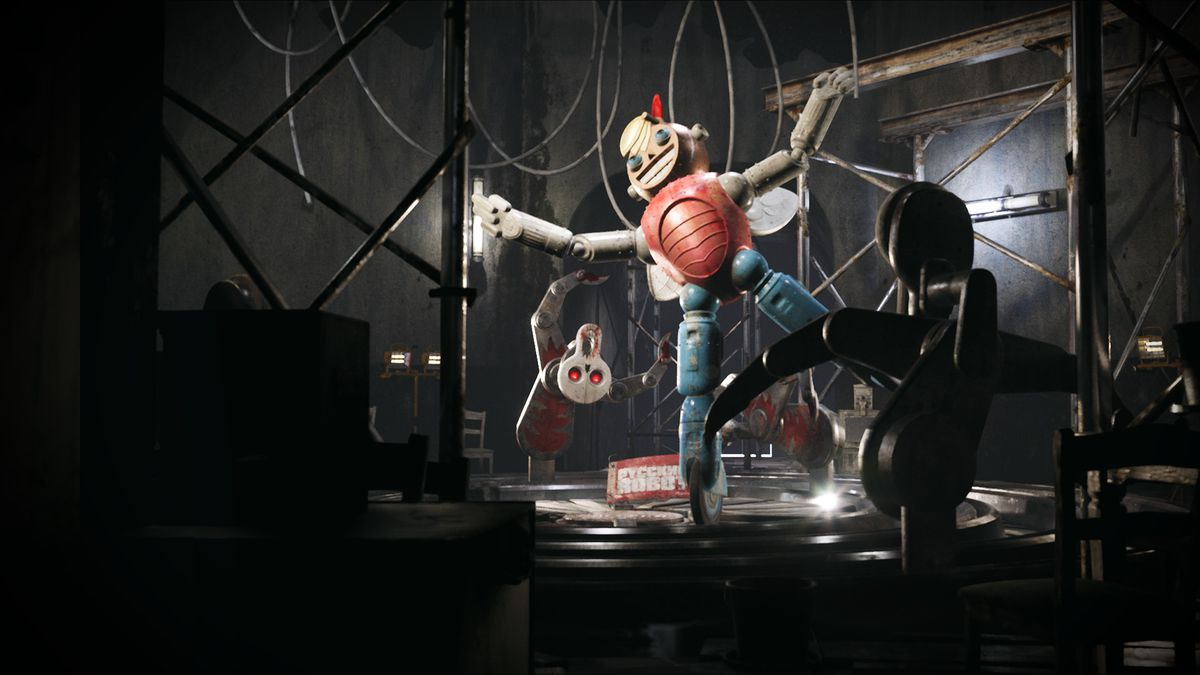 Atomic Heart - A scary clown-like robot hangs on wires.