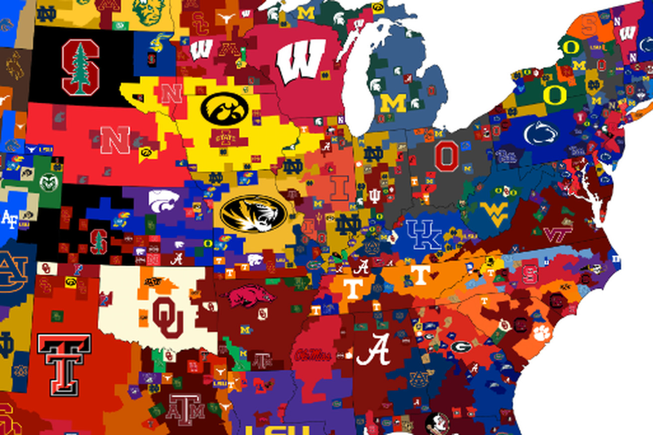 3 different maps that show the most popular college football teams