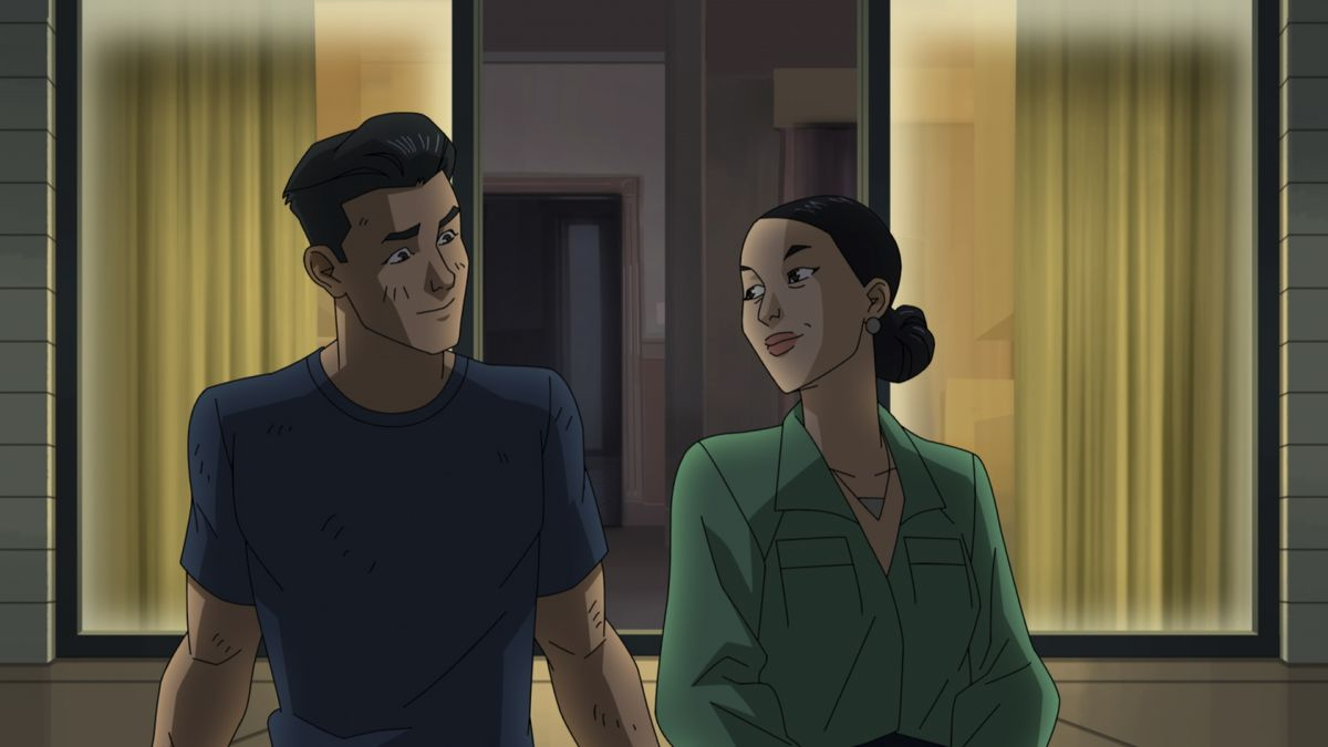 Mark and Debbie Grayson share a smile in front of an open window in Invincible