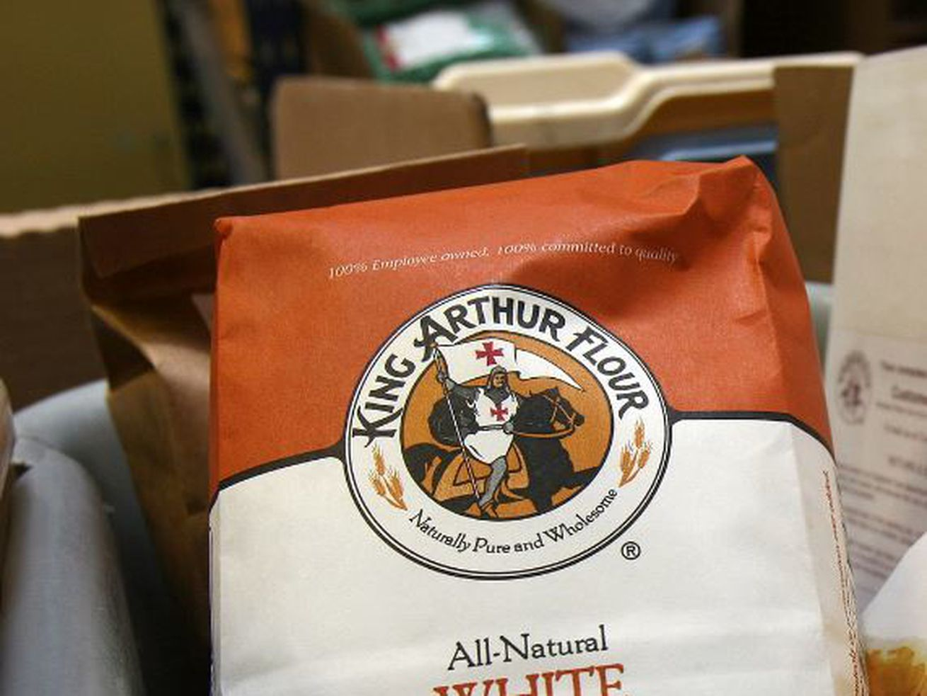 A bag of White Whole Wheat Flour awaits shipping from King Arthur Flour's facility in White River Junction, Vermont on Tuesday May 9, 2006.