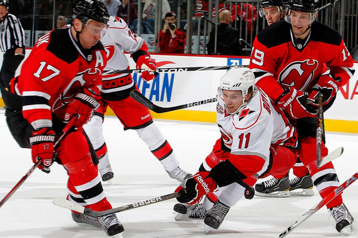 Thought: I wonder how the Leafs will try to contain Ilya Kovalchuk and Travis Zajac without their big minute, top tough-competition-facing defenseman, Francois Beauchemin? (Photo by Paul Bereswill/Getty Images)