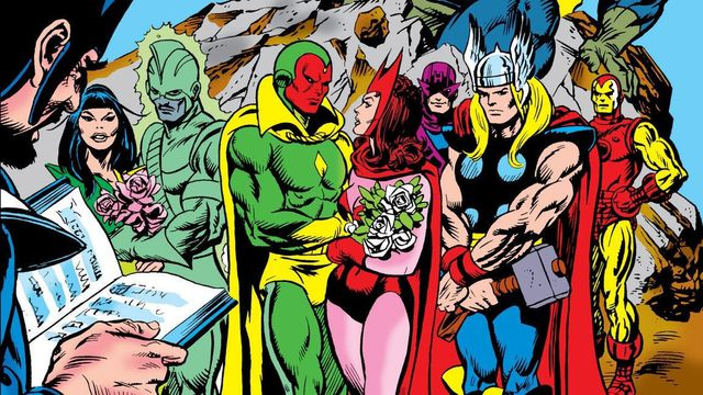 Vision and Scarlet Witch's original wedding on the cover of Giant-Size Avengers #4