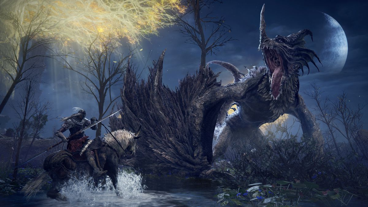 A Tarnished on horseback battles a dragon beneath the moon in Elden Ring