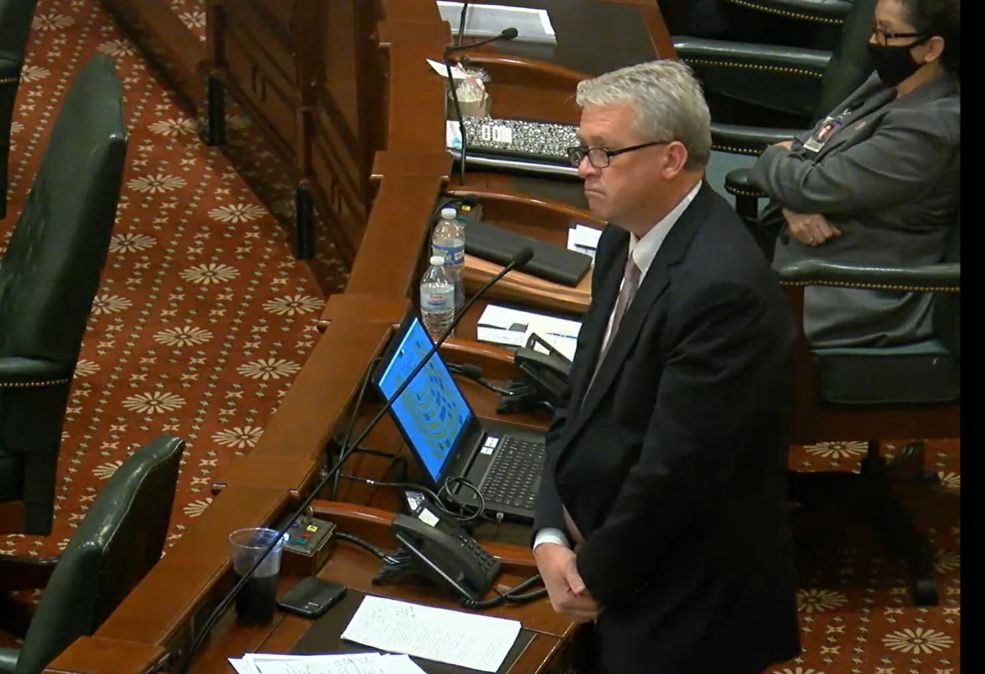 Illinois House Republican Leader Jim Durkin opposes the resolution to condemn state Rep Chris Miller on Thursday.